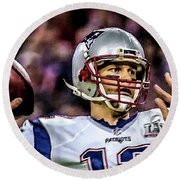 Tom Brady - Touchdown Round Beach Towel