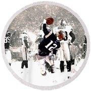 Tom Brady Touchdown Spike Round Beach Towel