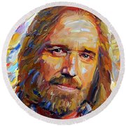 Tom Petty Tribute Portrait 1 Round Beach Towel
