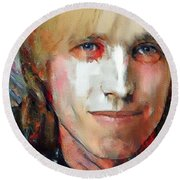 Tom Petty Tribute Portrait 3 Round Beach Towel