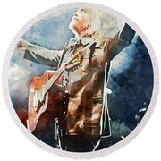 Tom Petty - Watercolor Portrait 13 Round Beach Towel