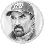 Tom Selleck Round Beach Towel