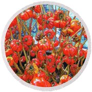 Tomato  Round Beach Towel