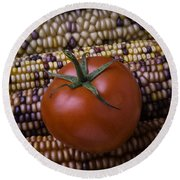 Tomato On Indian Corn Round Beach Towel