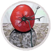 Tomato On Marble Round Beach Towel by Mary Ellen Frazee