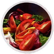Tomato Salad Round Beach Towel