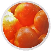Round Beach Towel featuring the photograph Tomato Tears by Barbara S Nickerson