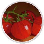 Tomatoes 01 Round Beach Towel by Wally Hampton