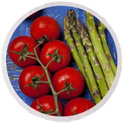 Tomatoes And Asparagus  Round Beach Towel by Garry Gay