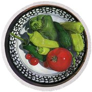 Tomatoes And Peppers  Round Beach Towel