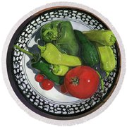 Round Beach Towel featuring the painting Tomatoes And Peppers  by John Dyess