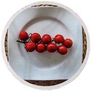 Tomatoes Round Beach Towel by Cesar Vieira