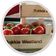 Tomatoes In A Crate Round Beach Towel