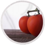 Tomatoes On A Vine Round Beach Towel