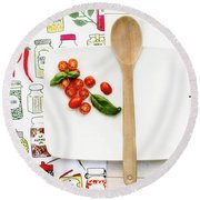 Round Beach Towel featuring the photograph Tomatoes On White Platter Still Life by Rebecca Cozart