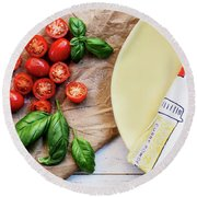 Round Beach Towel featuring the photograph Tomatoes On Yellow Plate by Rebecca Cozart