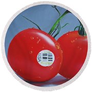 Tomatoes With Sticker Round Beach Towel