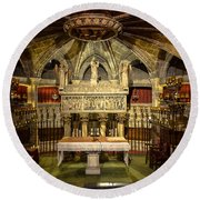 Tomb Of Saint Eulalia In The Crypt Of Barcelona Cathedral Round Beach Towel