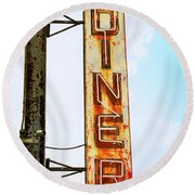 Tom's Diner Round Beach Towel