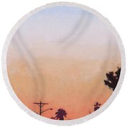 Round Beach Towel featuring the painting Tonal Hollywood by Andrew Danielsen