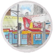 Tony Burger, Downtown Los Angeles, California Round Beach Towel