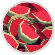 Too Many Watermelons Round Beach Towel