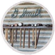 Round Beach Towel featuring the photograph Tools Of The Trade by Linda Lees