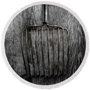 Round Beach Towel featuring the photograph Tools On Wood 25 On Bw by YoPedro