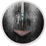 Round Beach Towel featuring the photograph Tools On Wood 5 On Bw by YoPedro