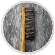 Round Beach Towel featuring the photograph Tools On Wood 52 On Bw by YoPedro