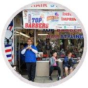 Top Barbers Round Beach Towel