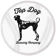 Top Dog Brewing Company Tee Round Beach Towel