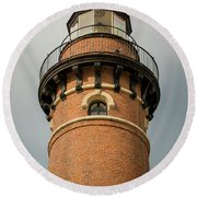 Round Beach Towel featuring the photograph Top Of Little Sable Point Lighthouse by Adam Romanowicz