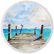 Top Of Old Pier On Playa Paraiso Round Beach Towel