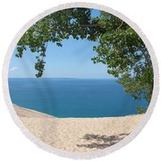 Top Of The Dune At Sleeping Bear Round Beach Towel by Michelle Calkins