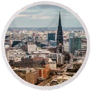 Top View Of Hamburg Round Beach Towel