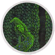 Topiary Peacock Round Beach Towel
