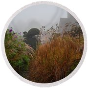 Topiary Peacocks In The Autumn Mist, Great Dixter 2 Round Beach Towel