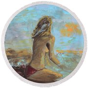 Topless Beach Round Beach Towel by Donna Blackhall