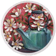 Topless With Daisies Round Beach Towel
