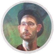Round Beach Towel featuring the painting Topper by JaeMe Bereal