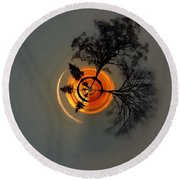 Topsy Turvy World - Sunset Round Beach Towel