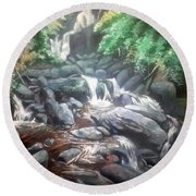 Torc Waterfall County Kerry Ireland Round Beach Towel