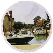 Round Beach Towel featuring the photograph Torcello Island by Cendrine Marrouat