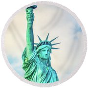 Round Beach Towel featuring the photograph Torch Of Liberty by Nick Zelinsky