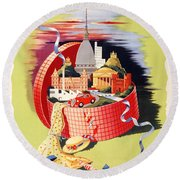 Torino Turin Italy Vintage Travel Poster Restored Round Beach Towel