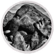 Torment In Black And White Round Beach Towel