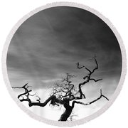 Tormented In Grey Round Beach Towel
