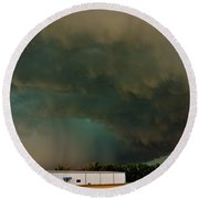 Tornadic Supercell Round Beach Towel by Ed Sweeney