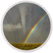Tornado And The Rainbow II  Round Beach Towel